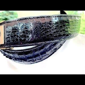 Vintage Real black Croco Leather Belt Metal buckle